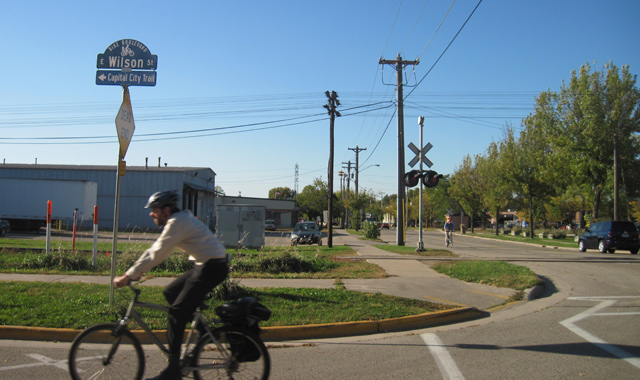 Bicycle Boulevard Street Name Sign -  Madison, WIAn  identification sign in Madison notifies users that bicycles are encouraged to use E Wilson St.