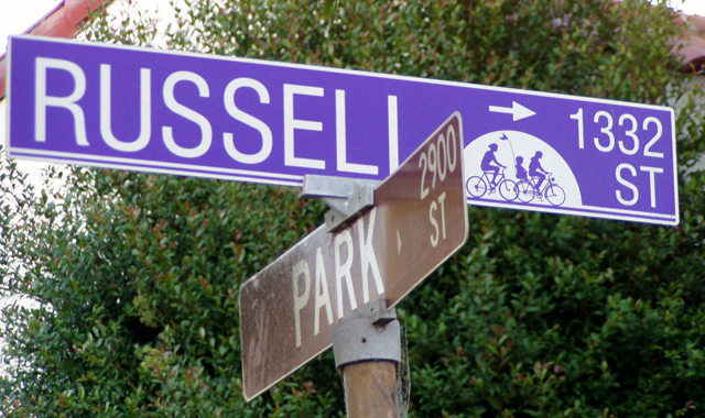 Bicycle Boulevard Street Name Sign - Berkeley, CAStreet signs in Berkeley indicates that Russell St. is a bicycle priority route.