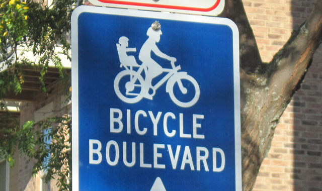 Bicycle Boulevard Identification Sign - Madison, WIIdentification signs let users know they are traveling on a street intended to accommodate bicyclists.