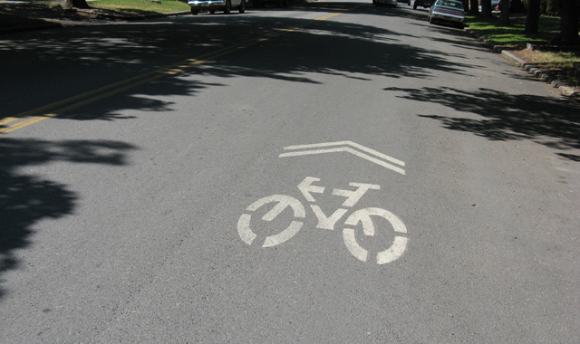 Shared Lane Marking - Missoula, MTShared lane markings provide guidance to users regarding expected bicyclist riding position.