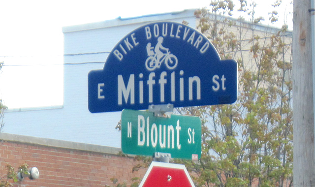 Bicycle Boulevard Street Name Sign - Madison, WIDistinctive street sign design helps differentiate the Mifflin St. Bike Boulevard from other neighborhood streets.