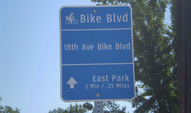 Wayfinding Sign - Nampa, IDThis confirmation sign reminds users that they are on a bicycle boulevard and provides both distance and travel time to the upcoming destination.
