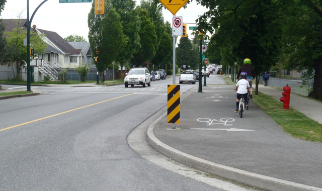 Two Way Cycle Track Connection on Bicycle Boulevard - Vancouver, BC
