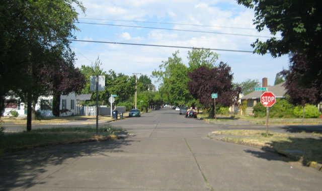 Neckdown - Eugene, ORThis neckdown narrows the roadway, requiring motorists to pass one at a time.