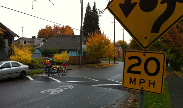 Speed Hump - Portland, ORSpeed humps, mini traffic circles, and 20 mph warning signs reduce vehicle speeds on this bicycle boulevard.