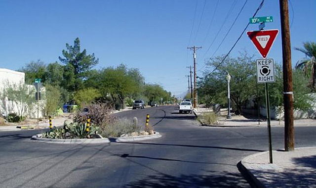 Mini Traffic Circle - Tucson, AZMini traffic circles may be used to lower vehicle speeds at high-volume bicycle crossings. Photo: City of Tucson
